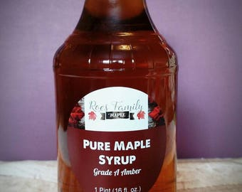 Pure New York State Maple Syrup-pint, glass maple syrup pint, flip top maple syrup, easy open maple syrup