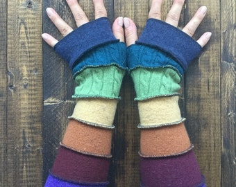 Rainbow Armwarmers made from recycled sweaters