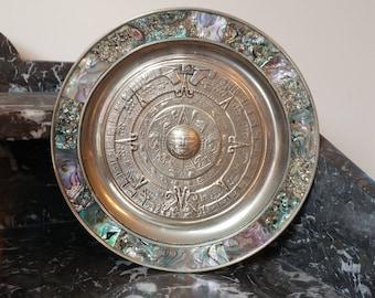 "Mexican Aztec Calendar 7"" Decorative Wall Plate Abalone Shell Inlay Alpaca Mexico"