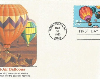 2 Hot Air Balloon First Day Cover Envelopes