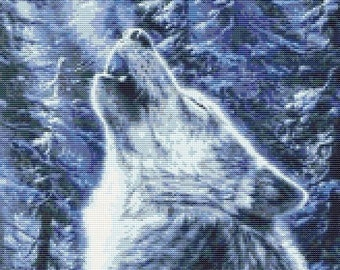 Wolf Howling At The Moon Counted Cross Stitch Pattern (164 x 201 stitches) in PDF for Instant Download