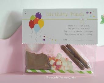 Birthday favours favor milkshake pack gift disco PUNCH