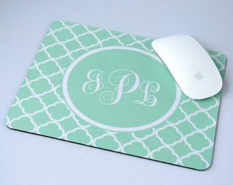 Personalized Desk Accessory Geometric Mint Monogram Mouse Pad Personalized Mouse Pad, Administrative Professionals day gifts, Assistant Gift