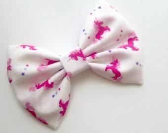 Unicorn Hair Bow - Fabric Hair Bow - Girls Hair Bow - Unicorn Fabric Bow - Pink Hair Bow - Pink Unicorn Bow - Toddler Hair Bow - Infant Bow