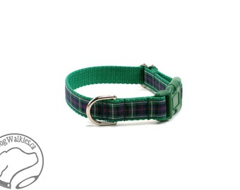 """MacKenzie Tartan Dog Collar / Plaid Dog Collar / 3/4"""" (19mm) Wide / Quick Release or Martingale Dog Collars /Choice of collar style and size"""