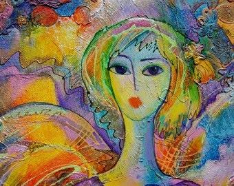 Original Painting, Sweet Angel, Mixed Media, Yarn, Acrylics