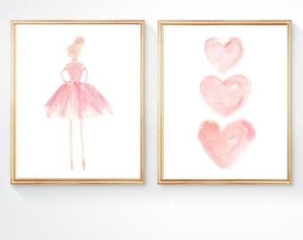 Girls Room Decor, Blush Ballerina, Set of 2 - 8x10, Girls Ballet Decor, Girls Ballet Print, Ballerina Art, Blush Nursery, Ballerina Decor