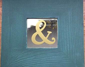 Gold Ampersand on Hanging Mirror, 10 x 10 frame