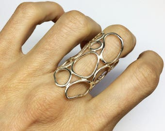 big silver statement ring, silver organic ring, shiny finish, matt finish, organic silver ring, GIFT FOR WOMEN, contemporary silver ring,