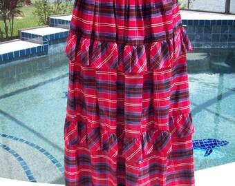Long Taffeta Ruffle Gala Skirt