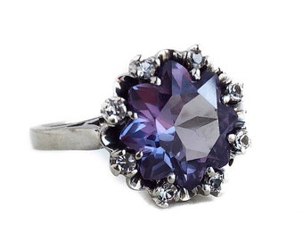 Created Alexandrite Ring - 10k White Gold Diamond 2.10 CT Alexandrite Color Change Purple Blue Gemstone Ring Size 6