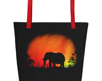 Elephant at sunset Beach Bag, fashion bag, beach bag, travel bag. Colorful silhouette with orange and yellow sky beach bag for Elephant love