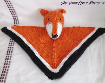 Hand-Knit Cuddle Blanket - Knitted Fox or Wolf Lovey Blanket - Knit Wolf Security Blanket for Baby - Knit Fox Security Blanket for Baby
