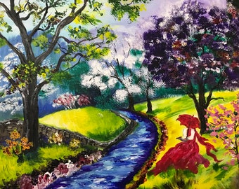 Handmade Acrylic Painting On Stretched Canvas 16x20, Landscape, Lady In Red, Colorful, Home Decor, Wall Art, Gift Idea