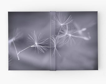 Etheral Gray Journal Book, Dandelion Macro Blank Sketchbook For Artist, Ruled Lined Spiral Diary, Graph Paper Nature Hard Cover Notebook