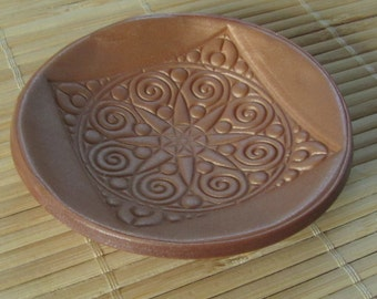 Gold Polymer Clay Trinket Dish - Round Jewelry Plate - Ready to Ship