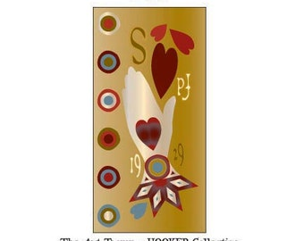 """Mother's Heart In Hand ~ Giving Love ~ 11"""" x 22"""" Paper Pattern for HOOKED RUG by The Art Tramp/HOOKER Collection"""