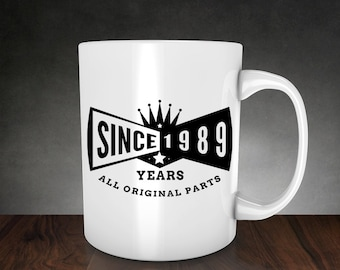 27th birthday mug, SINCE 1989 YEARS, 27th birthday, personalized mugs, birthday gift, coffee mug, tea, mug, cup, for men and women