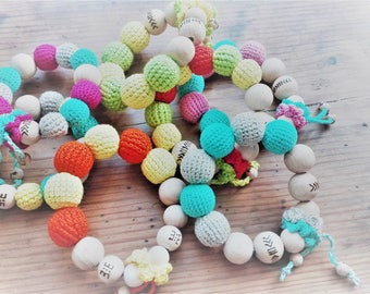 teether, cotton yarn toy, handmade crochet teething ring, montesori, christmas baby gift, chrochet teething ring, wood teether