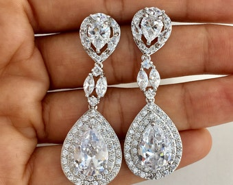 Crystal Bridal Earrings, Wedding Earrings, Large Crystal Teardrop Earrings, Rhodium Earrings, Crystal Bridesmaid Jewelry, Crystal Jewelry
