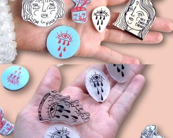 Hand-Made Pin, Hand-Made Badge, Hand-Made Brooch, Indie Pin, Indie Brooch, Feminist Pin, Feminist Badge, Feminist Brooch, Gift Idea, Pin