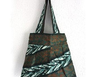 Batik Tote Bag, African tote bag, Beach tote, Cotton tote bag, Adire bag, Festival Accessory, green bag, Bag for life, African tote bag