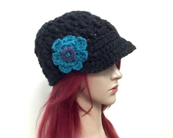 Totally Black Brimster with Slight Sparkle  - Removeable Crochet Flower -Wool Acrylic Blend Chunky Yarn-Women Girl Teen