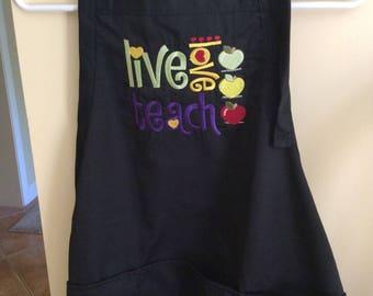 Teacher Themed Embroidered Adult Apron- Live Love Teach