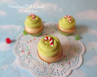 Fake Cupcake Realistic Christmas Holiday CANDY CANE COOKIE Lime