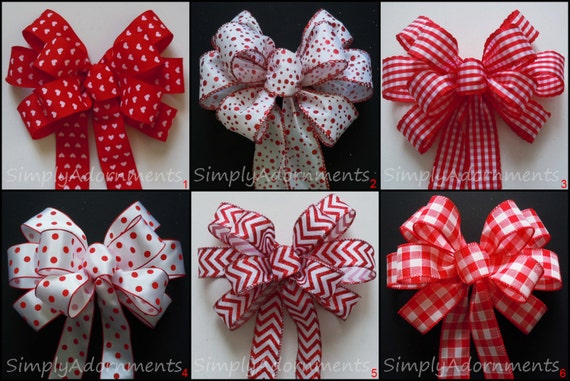 5 Red White Bows Red plaid bow Christmas Gift Bows Ornament Tree Bows Wreath Swag Bows Birthday Party Decor Bows -Set of 5 Mixed or Matched