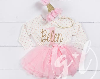 First Birthday Outfit, First Birthday Dress, Pink and gold birthday, 1st birthday outfit, 1st birthday dress, polka dot, long sleeve