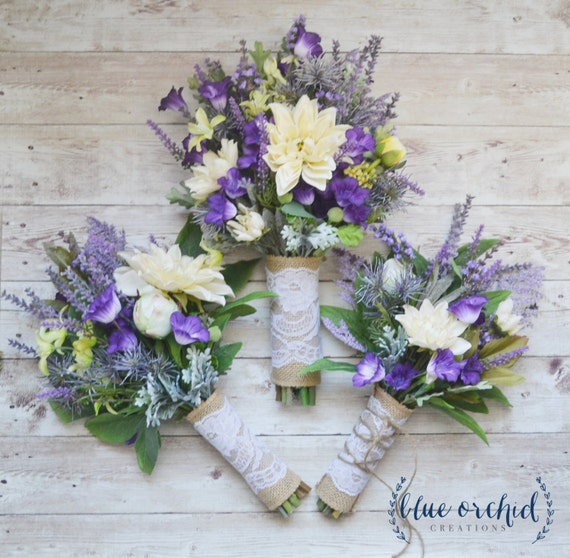 Lavender Wedding Toss: Wildflower Wedding Bouquet With Bridesmaid Bouquet And Toss