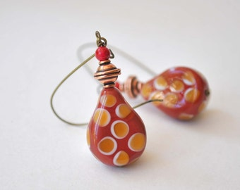 Red Earrings, Lampwork Glass Earrings, Teardrop Earrings, Dangle Earrings, Long Earrings, Beaded Earrings
