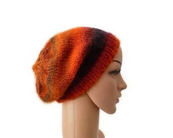 Knit Slouchy Beanie, Winter Knit Beanie, Wool Hat, Womens Slouchy Hat, Burnt Orange Hat