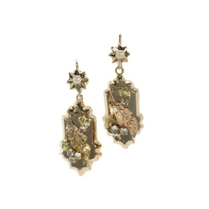 Floral Victorian Gold Earrings - Antique dangle earrings 18K yellow red gold paste stones seed pearls c.1880