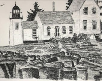 Maine lighthouse drawing