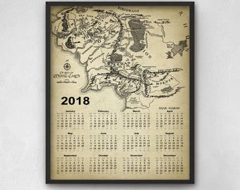 Lord Of The Rings Calendar 2018 - Middle Earth Calendar - 2018 Fantasy Calendar - Dorm Room Calendar - Bedroom Calendar - The Shire - Mordor