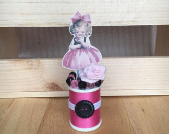 Little Pink Girl Thread Spool Assemblage