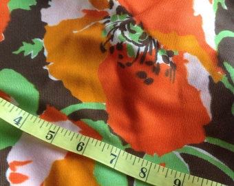 Vintage 1970s Large Floral Polyester Fabric // orange & red poppies on brown, 5 yards plus