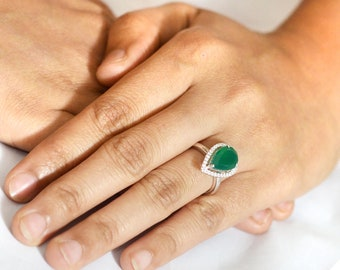 2.75 Ct.White CZ & Pear Shape Green Emerald Halo Engagement Ring 925 Sterling Silver For Women / Gemstone Green Emerald Ring/ Silver Ring