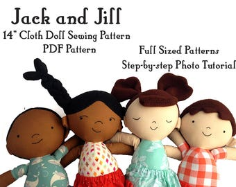 Rag Doll sewing pattern, cloth doll, boy and girl, twins, Jack and Jill, soft toy plushie pattern, PDF instant download, A4 or letter