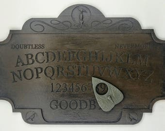 A4 Premium Wood-Effect Resin Raven Ouija Board Set Complete with Quoth The Raven Planchette, Talking Board Inspired by Edgar Allan Poe