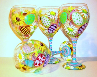 Easter Eggs and Daisie's Hand Painted Wine Glasses Set of 4 -20 oz. Wine Red Goblets Daisy Pastel Colors Blue Lavender Yellow Green Pink