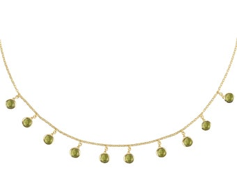 Florence Round Gemstone Necklace Gold Peridot