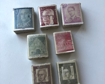 Vintage stamps in little piles