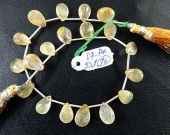 Golden Rutilated Quartz Briolette Faceted Pear Drops -7x10MM To 8x12MM  8'' 19Pc-53Ct AAA Quality Wholesale Price(42)