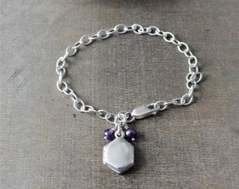 February Birthstone Bracelet, Tiny Locket Bracelet, Oxidized Silver Bracelet, Vintage Modern Locket, Silver Chain Bracelet, June Birthstone