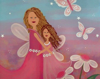 Kids Art Print of Mother Daughter Angels Painting - Girls Room Kid Wall Art Prints - Baby Nursery Child & Teen Decor - ALWAYS FOREVER by TLW
