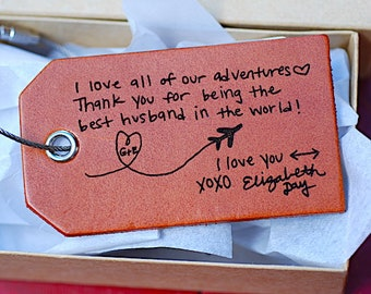 Husband Anniversary Gift, Handwritten Luggage Tag, Bag Tag, Fathers Day, Travel, Mens Travel, Actual Handwriting, Baggage Tag, for Him, Men