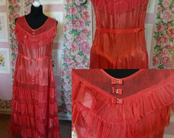 1930s Coral Satin Evening Dress